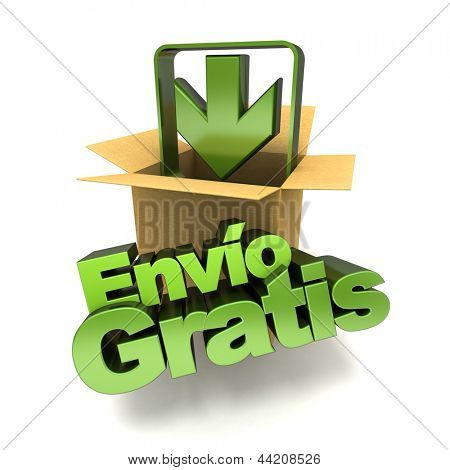 3D rendering of a free shipping concept banner in Spanish, env���o gratis