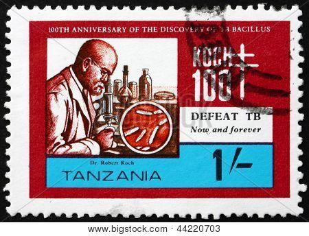 Selo postal Tanzânia 1982 Robert Koch