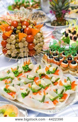 catering Buffet-Stil verschiedene Snacks und sandwiches