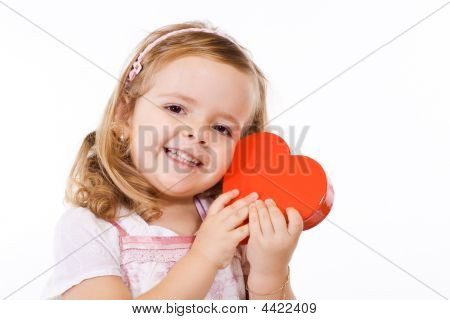 Happy Girl With Valentines Heart