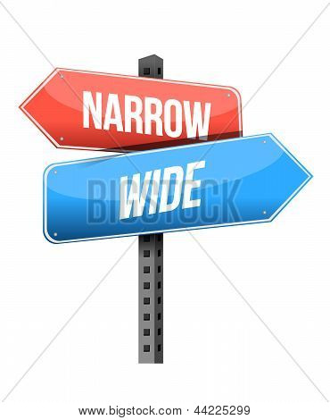 Narrow, Wide Road Sign