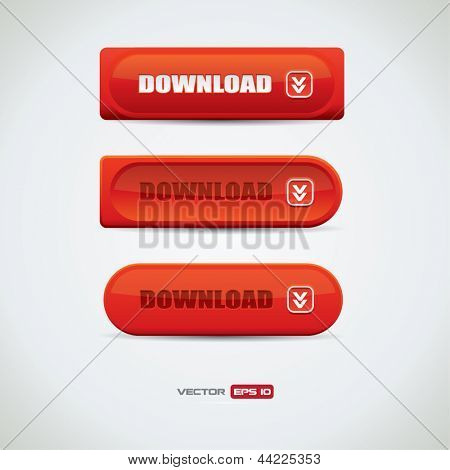 Red download buttons with different design variations