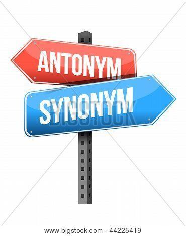 Antonym, Synonym Road Sign