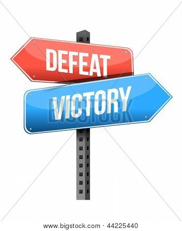 Defeat, Victory Road Sign