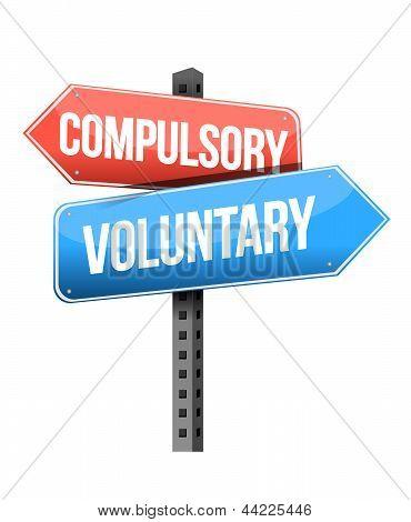 Compulsory, Voluntary Road Sign