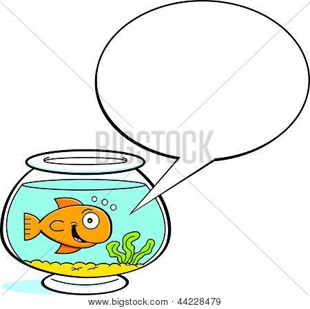 Cartoon goldfish with a caption balloon