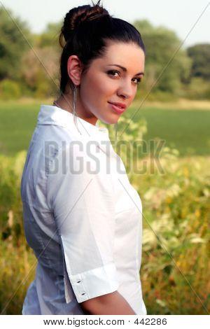 Brunette Looking Over Shoulder