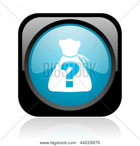 riddle black and blue square web glossy icon