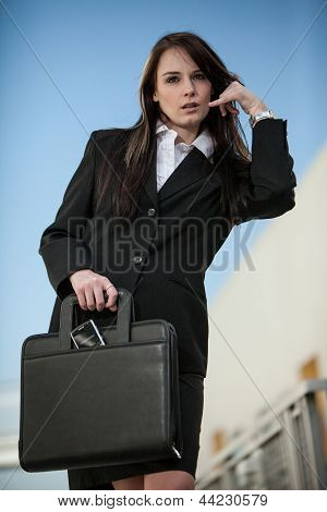 Pretty Fashionable Brunette Caucasian Business Woman Outdoor