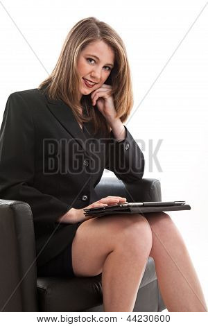 Pretty Young Blond Caucasian Business Woman In Her Twenties