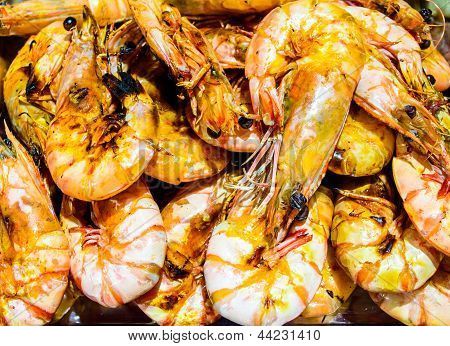 A Close Up Of  Gourmet Roasted Shrimps.