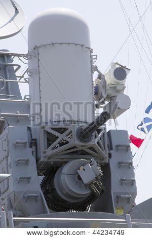 The Phalanx gun on US Navy destroyer during Fleet Week 2012