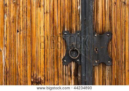 Door Lock On A Wooden Coating