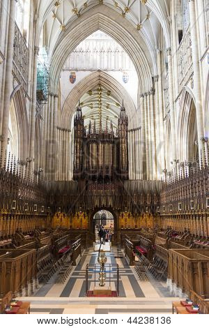 YORK, UK - MARCH 30: Quire area in the York Minster. The Quire was installed in 1829, whereas the cathedral dates back from 1291. March 30, 2013 in York.