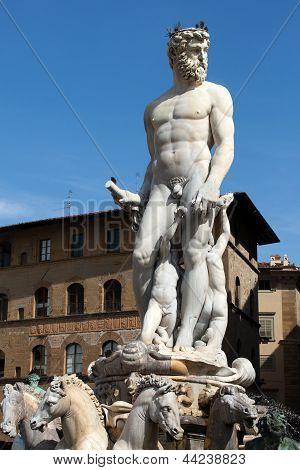 Fountain of Neptune in the Piazza della Signoria Florence poster