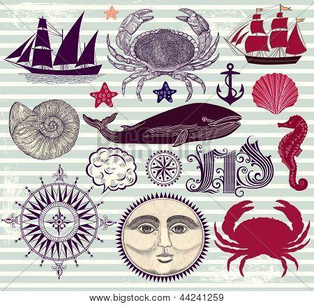 Vector set of nautical and sea symbols
