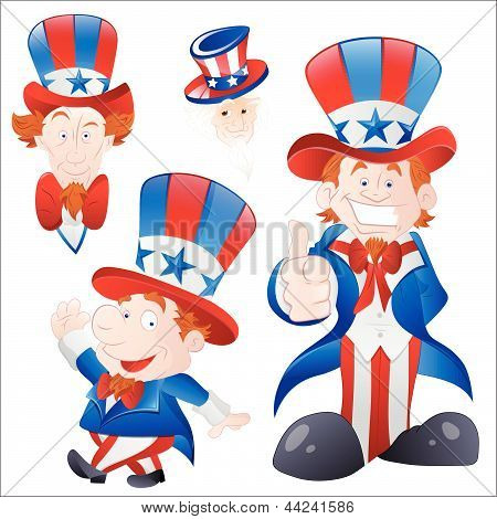 Set of Cartoon Uncle Sam