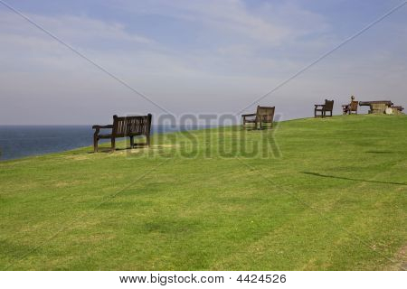 Bench On The Seaside. Uk. Whitstable
