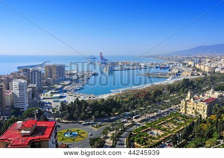 aerial view of the port and the coastline of Malaga city, Spain poster