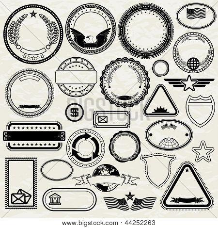 Set of Various Stamp Design. Vector Templates poster