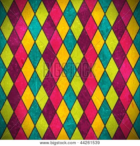 Geometric pattern made of rhombuses in various bright colors overlaid with grunge elements and scratches to give it an aged and distressed feeling.