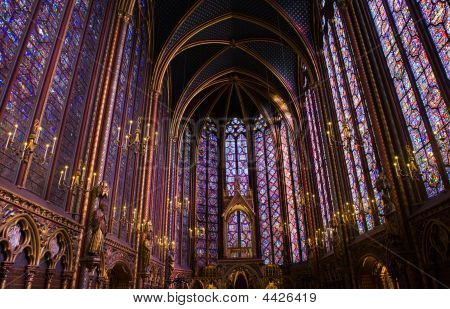 La Sainte-chapelle Chapel Stained Glass Windows And Ceiling