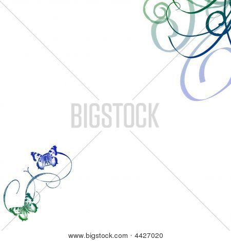 Green Blue Swirl And Butterfly Background