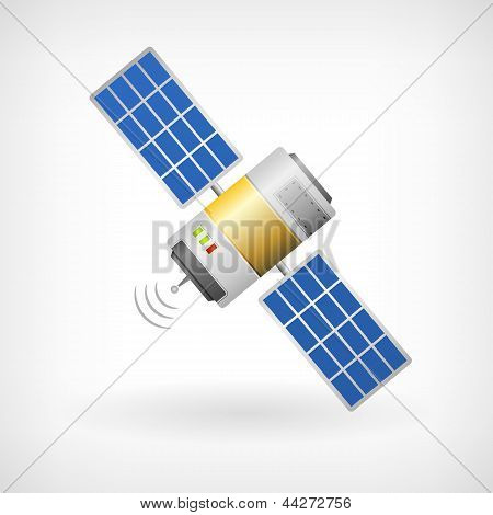 Isolated Communication Satellite Icon With Solar Cells