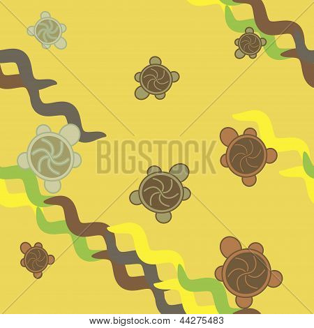 Turtles seamless pattern - green and yellow