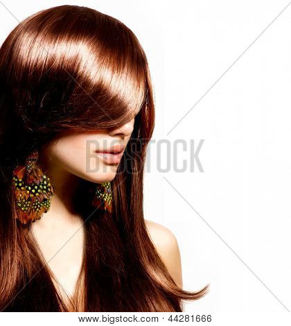 Hair. Beautiful Brunette Girl with Healthy Long Brown Hair. Beauty Model Woman Portrait isolated on White Background. Hairstyle. Stylish Haircut. Fringe. Glossy Smooth Fashion Hair. Extensions poster