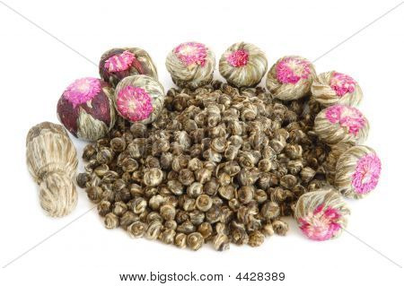Aromatic dried flower green tea bolls and oolong tea leaves poster