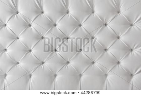 Leather Upholstery White Sofa Texture, Tufted Upholstery Pattern Background