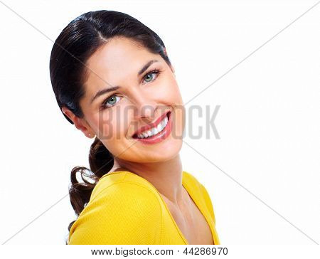 Beautiful smiling woman isolated on white background.