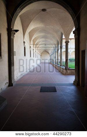 Internal courtyard of basilica Santa Croce in Florence Italia.