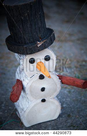 Decorative wooden snowman