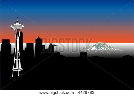 Seattle Space Needle And Mt. Rainier Skyline