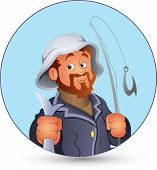 Drawing Art Cartoon Fisherman Character with Fish Vector Illustration poster