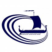 The contour of the ancient sailing ship. Illustration on white background. poster
