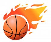 Vector Flaming Basketball on white background illustration poster