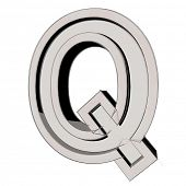 3D sketchy alphabet, letter Q isolated on white background poster