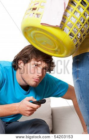 Man addicted to the television and his wife with washing poster