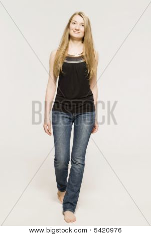 Young Girl And Blonde  Dressed In Black  Top