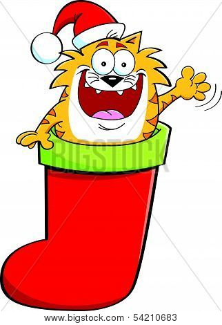 poster of Cartoon illustration of a cat inside a stocking while waving.