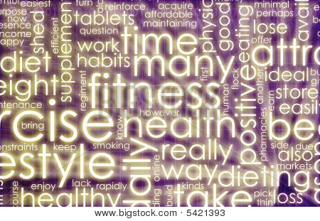 poster of Health and Fitness List as Abstract Background