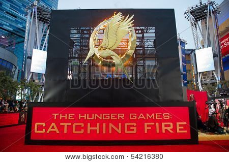 LOS ANGELES, CA - NOVEMBER 18: The entrance to the premiere of The Hunger Games: Catching Fire at the Nokia Theater in Los Angeles, CA on November 18, 2013