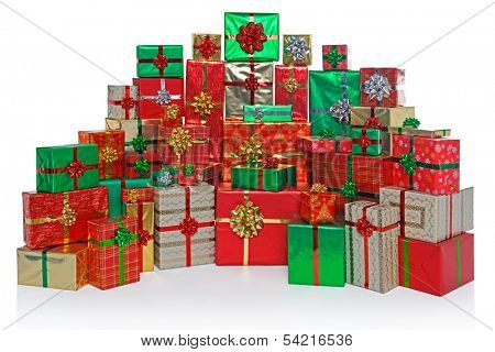 Large group of gift wrapped Christmas presents isolated on a white background.