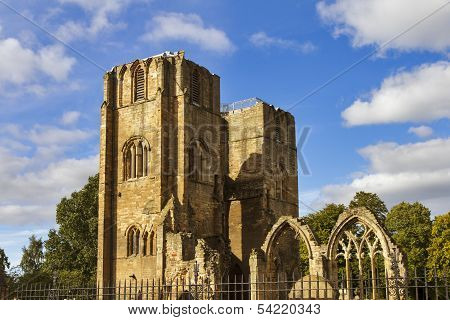 Elgin Cathedral in summer.