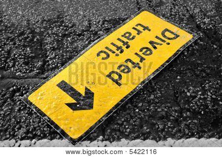 Broken Traffic Sign On The Street