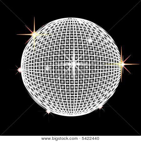 illustration of a Disco reflector ball on black poster