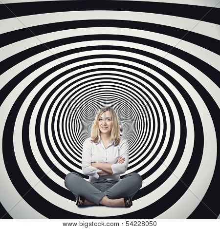 businesswoman sit on 3d abstract tunnel